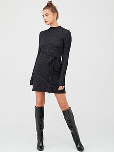 v-by-very-high-neck-belted-snit-dress-black
