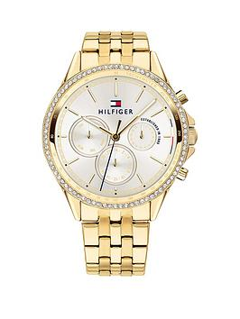 tommy-hilfiger-tommy-hilfiger-silver-sunray-chronograph-dial-gold-stainless-steel-bracelet-ladies-watch
