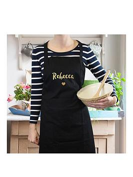 Very Personalised Metalic Gold Name Black Apron Picture
