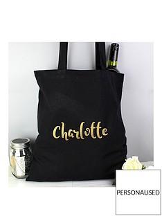 personalised-metalic-gold-name-black-canvas-bag
