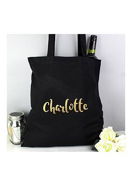 Very  Personalised Metallic Gold Name Black Canvas Bag