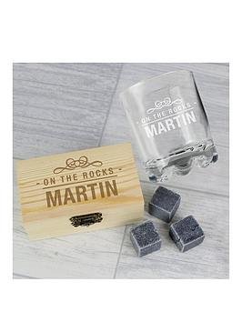 Personalised On The Rocks Whiskey Stones And Glass Set