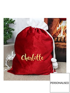 personalised-red-plush-christmas-sack-with-metallic-gold-name