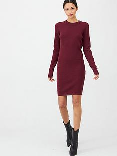 v-by-very-keyhole-back-detail-knitted-dress-berry