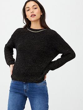 v-by-very-sparkel-lurex-trim-knitted-top-black