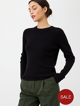 v-by-very-keyhole-back-detail-knitted-jumper-black