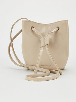 WHISTLES Whistles Ammie Leather Mini Drawstring Bag - Taupe Picture