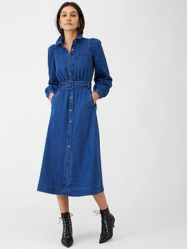 WHISTLES Whistles Belted Midi Shirt Dress - Denim Picture