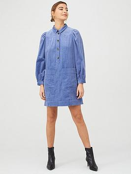 WHISTLES Whistles Chunky Cord Western Dress - Pale Blue Picture
