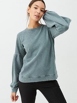 whistles-gathered-sleeve-sweatshirt-pale-green