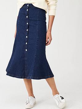 WHISTLES Whistles Denim Button Through Skirt - Indigo Picture
