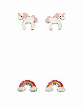 the-love-silver-collection-sterling-silver-childrens-2-pack-unicorn-and-rainbow-stud-earrings