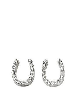 the-love-silver-collection-sterling-silver-cubic-zirconia-horseshoe-stud-earrings