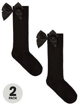 V by Very V By Very Girls 2 Pack Big Bow Knee High Socks - Black Picture