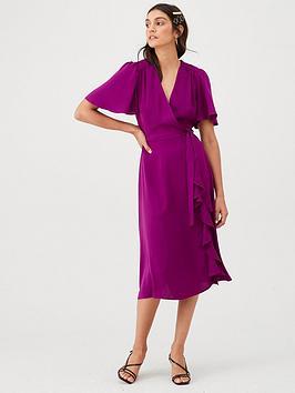 V by Very V By Very Vienna Wrap Frill Midi Dress - Magenta Picture