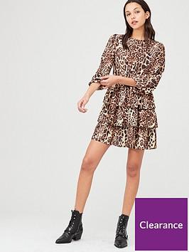 v-by-very-printed-tiered-skater-dress-leopard