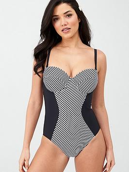 V by Very V By Very Shapewear Stripe Panelled Underwired Swimsuit -  ... Picture