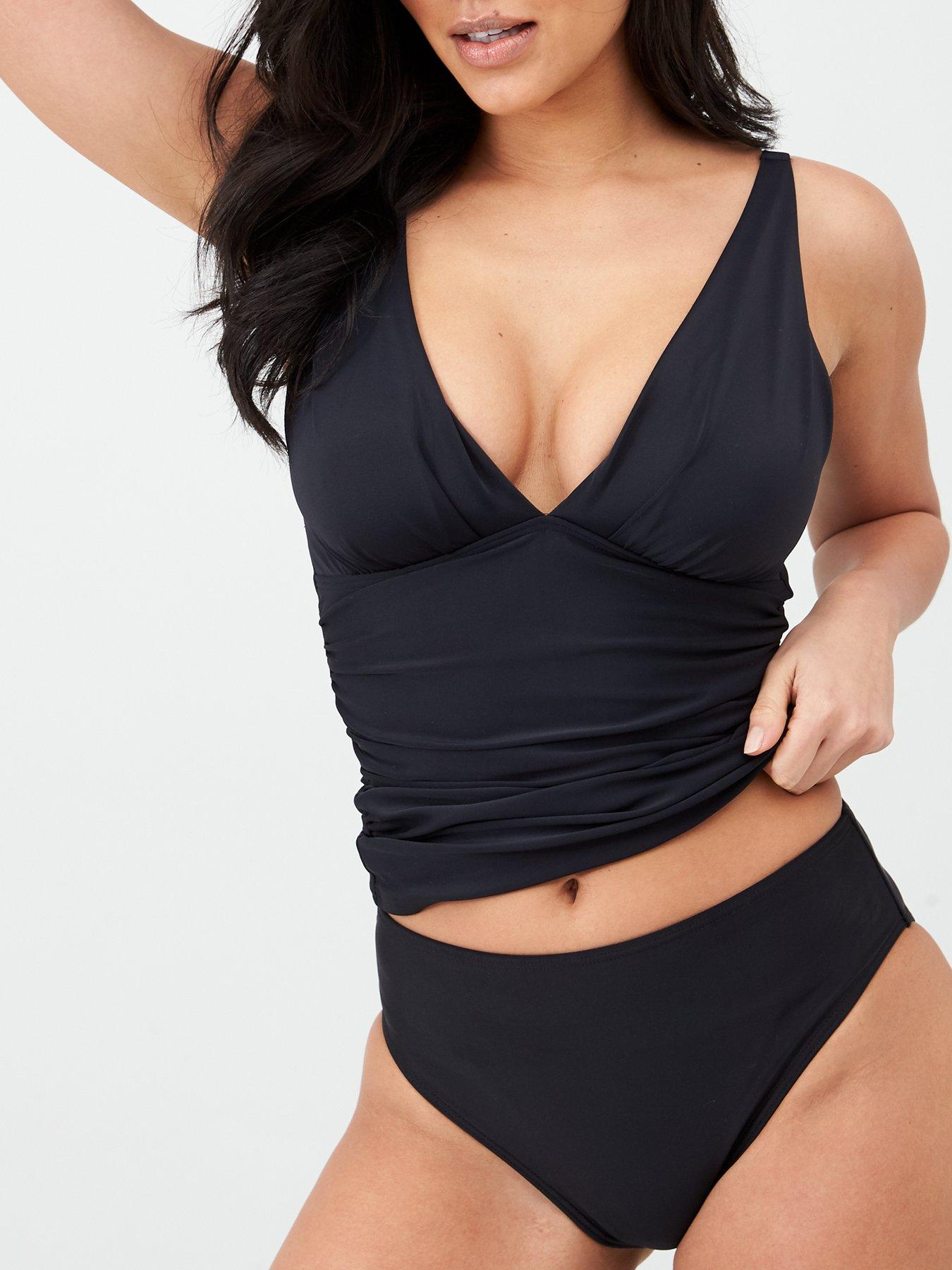 Brands Trendy Tankini Size 50-54 Black Patterned Tone NEW 377