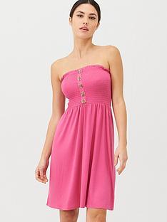v-by-very-button-detail-shirred-mini-beach-dress-pink