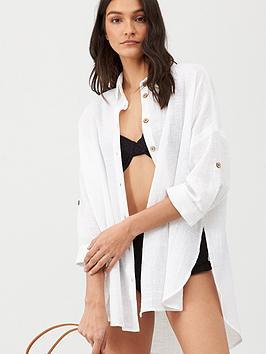 V by Very V By Very Cotton Beach Shirt - White Picture