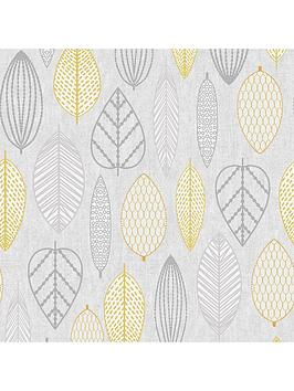 Superfresco Easy Superfresco Easy Scandi Leaf Wallpaper &Ndash; Yellow Picture