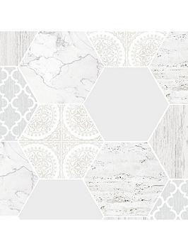 Contour  Grey Hexagonal Marble Wallpaper