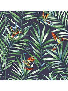 fresco-hummingbird-navy-wallpaper