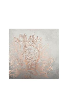 Graham & Brown Pretty Protea Canvas With Metallic