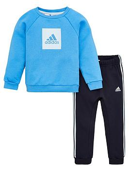 Adidas   Infant 2 Piece 3 Stripe Logo Sweatshirt And Jogger Set - Blue
