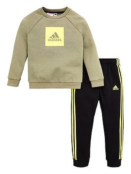 Adidas   Infant 2 Piece 3 Stripe Logo Sweatshirt And Jogger Set - Green
