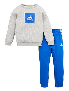 Adidas   Infant 2 Piece 3 Stripe Logo Sweatshirt And Jogger Set - Medium Grey Heather