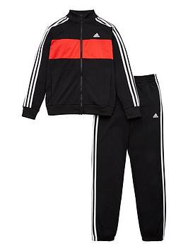Adidas   Girls 3 Stripe Full Zip Jogger Set - Black