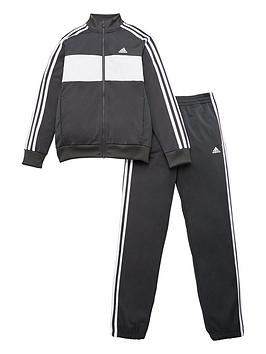 Adidas   Boys Dmh 3 Stripe Full Zip Hoodie Jogger Set - Grey