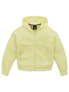 adidas-girls-3-stripe-full-zip-hoodie-yellow
