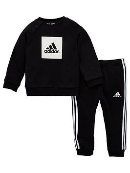 Adidas   Infants 3 Stripe Logo Sweatshirt And Joggers Set - Black