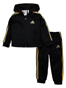 Adidas   Infants Shiny Full Zip Hooded Tracksuit - Black