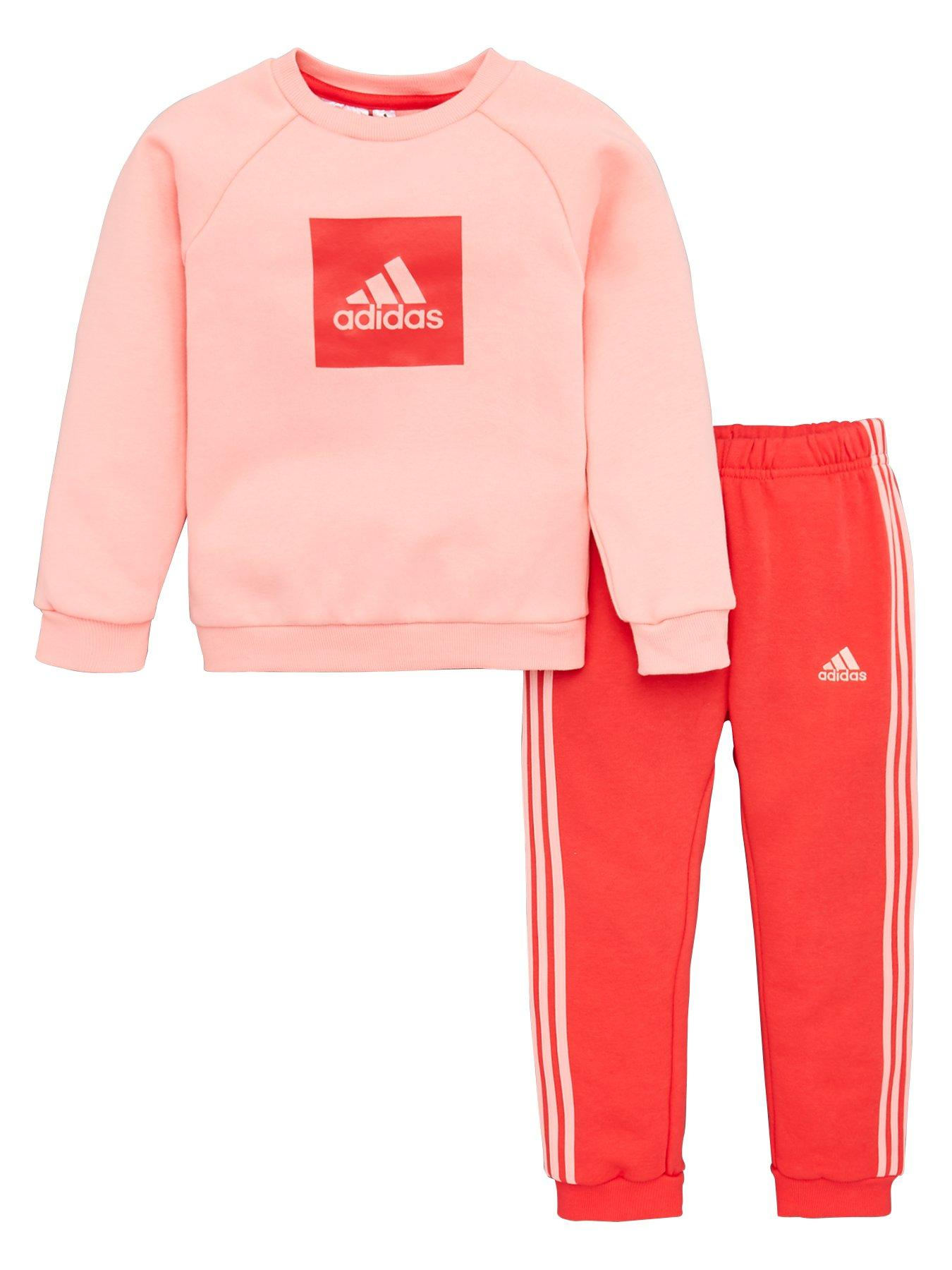 Girls adidas Infant Girls Shiny Hoody Tracksuit in Pink 1-2