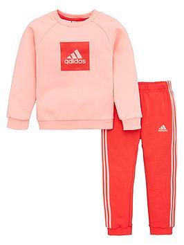 Adidas Adidas Infant 2 Piece 3 Stripe Logo Sweatshirt And Jogger Set - Pink Picture