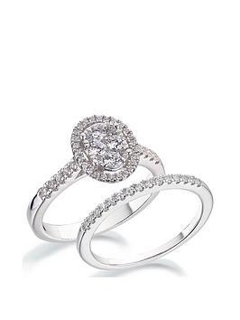 Love DIAMOND Love Diamond 9Ct White Gold 1/2 Carat Diamond Oval Halo  ... Picture