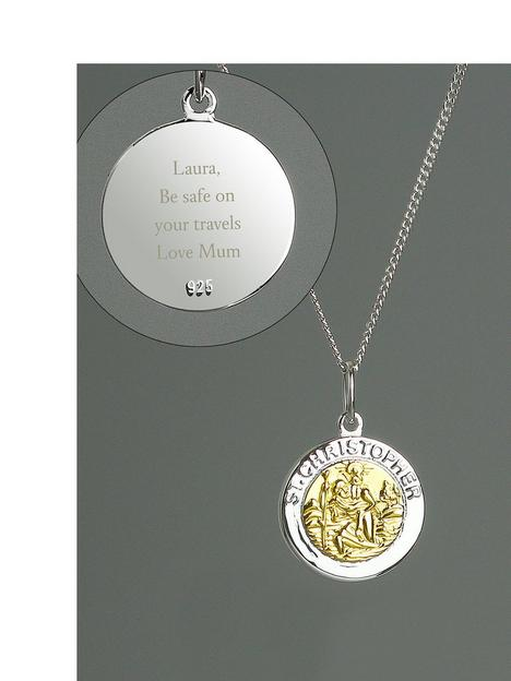the-love-silver-collection-personalised-sterling-silver-9ct-gold-st-christopher-pendant-necklace