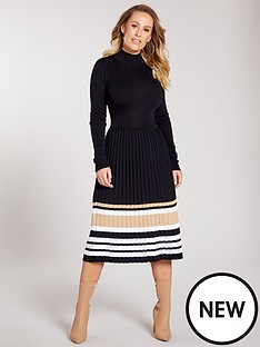 kate-wright-metallic-stripe-pleated-skirt-knitted-dress-black