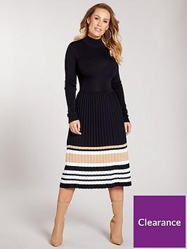 kate-wright-metallic-stripe-pleated-skirt-knitted-dress-black