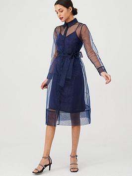V by Very V By Very Organza Tie Waist Dress - Navy Picture