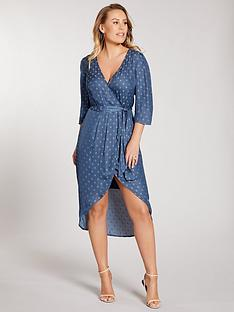 kate-wright-spot-jacquard-wrap-midi-dress-teal