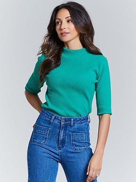 michelle-keegan-short-sleeve-ribbed-turtle-neck-green