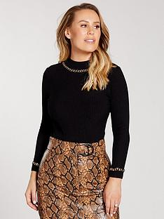 kate-wright-chain-detail-knitted-jumper-black