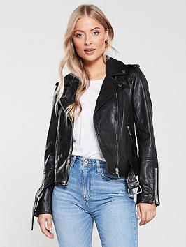 River Island River Island River Island Premium Leather Biker Jacket-Black Picture
