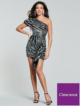 michelle-keegan-one-shoulder-sequin-mini-dress-zebra
