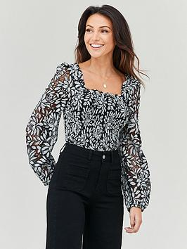michelle-keegan-shirred-body-lace-blouse-monochrome