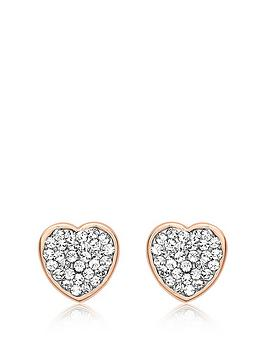 Love GOLD Love Gold 9Ct Rose Gold Cubic Zirconia Pave Heart Stud Earrings Picture